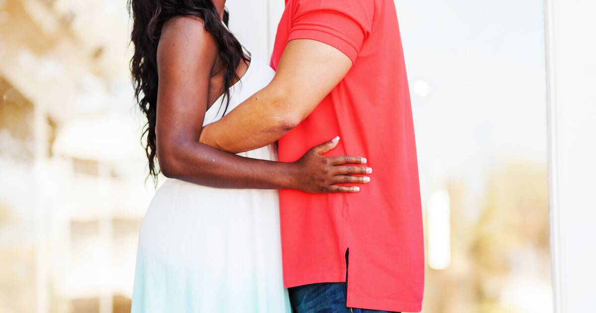 Interracial couple holding each other. Sex Ed pbs rewire