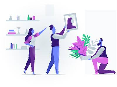 Illustration of roommates placing furniture in their apartment. IKEA Habit pbs rewire