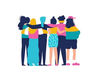 Illustration of the back of group of friends with arms around each other. Sibling Relationships pbs rewire