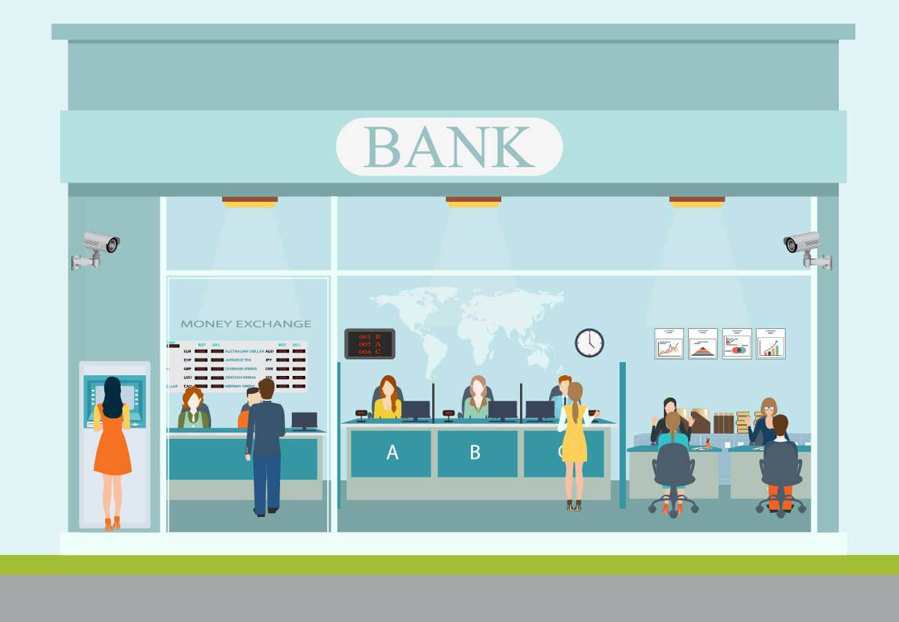 Illustration of a bank front with people at an ATM, at the counter exchanging money or talking to a teller and meeting with bankers at desks. Rewire PBS Traditional Bank