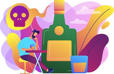 Illustration of man surrounded by bottles of alcohol. Sober Curious pbs rewire