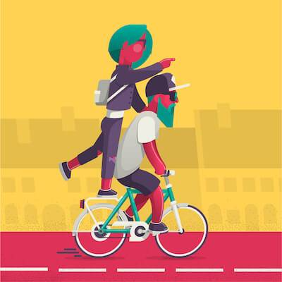 Illustration of woman riding on back of friend's bicycle. Ditch Your Friends pbs rewire