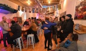 Photo of people gathered at Water Bar's annual Winter Social. Rewire PBS Our Future Tap Water
