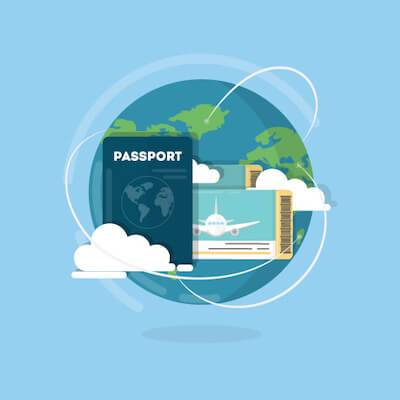 Illustration of a passport, airplane tickets and the world. Globe Trotting pbs rewire