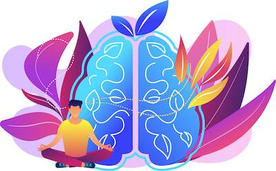 Illustration of person meditating in front of large brain. Feel Less Lonely pbs rewire