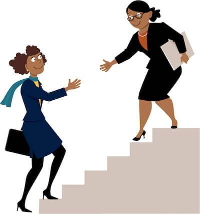 Illustration of African-American woman holding out a hand to help a young women up stairs. Finding a Mentor pbs rewire