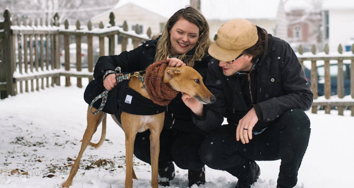 Photo of a couple petting their greyhound dog. Rewire PBS Living Greyhound