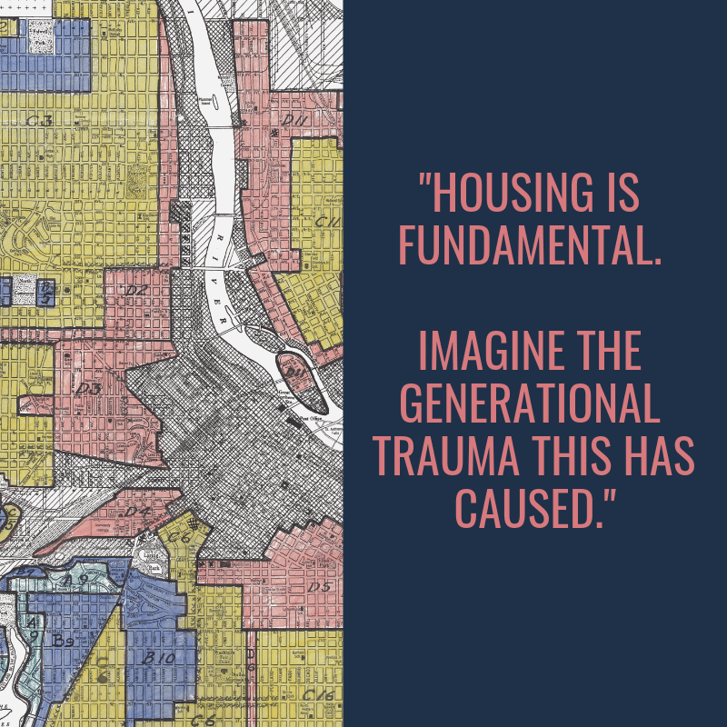 "Quote graphic stating ""Housing is fundamental. Imagine the generational trauma this has caused."" Institutional Racism pbs rewire"