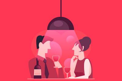 Illustration of man and woman having wine during their first date. pbs rewire