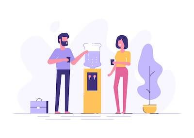 Illustration of man and woman talking around a water cooler. Working From Home pbs rewire