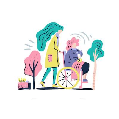 Illustration of adult daughter pushing parent diagnosed with cancer in wheelchair. pbs rewire
