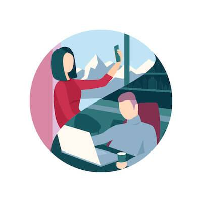 Illustration of couple chatting long distance on mobile devices. Relocate for Love pbs rewire