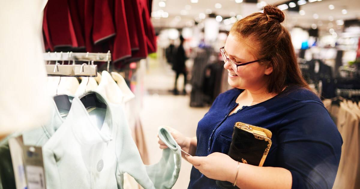 Plus size woman shopping in a retail store. Body Positivity pbs rewire