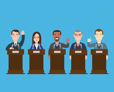 Illustration of 5 diverse political candidates at podiums. Veterans pbs rewire