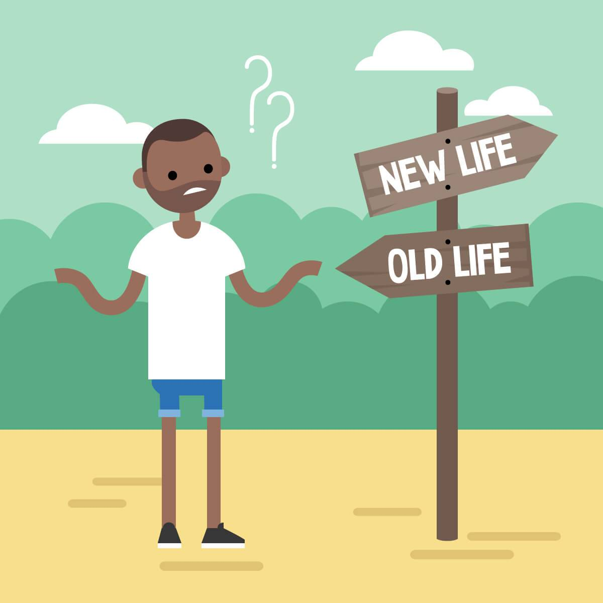 "Illustration depicting young man looking questioningly at a sign with arrows pointing to ""New Life"" or ""Old Life."" Rewire PBS Living Quarter-life Crisis"