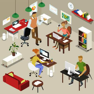 Illustration of employees in an open office. pbs rewire