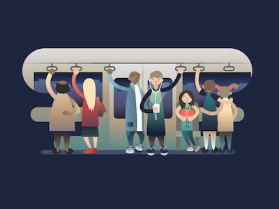 Illustration of passengers in a subway car. Be More Green pbs rewire