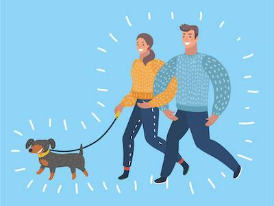 Illustration of couple walking their dog. Getting a Dog pbs rewire