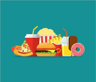 Illustration of many types of fast junk food. Environmental Impact of Your Diet pbs rewire