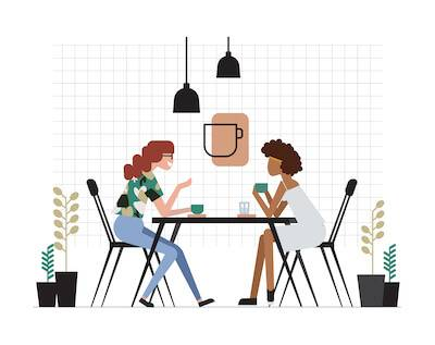 Illustration of two friends having coffee together at a cafe. Partner's Social Needs pbs rewire