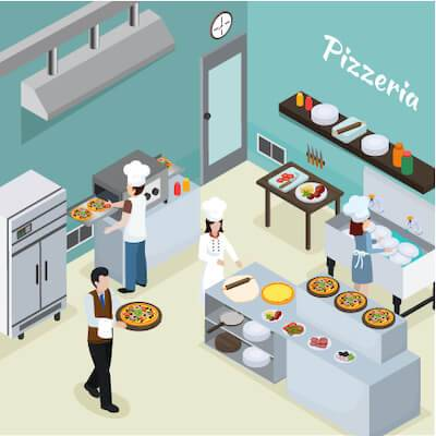Illustration of staff working at pizzeria. Wage Theft pbs rewire