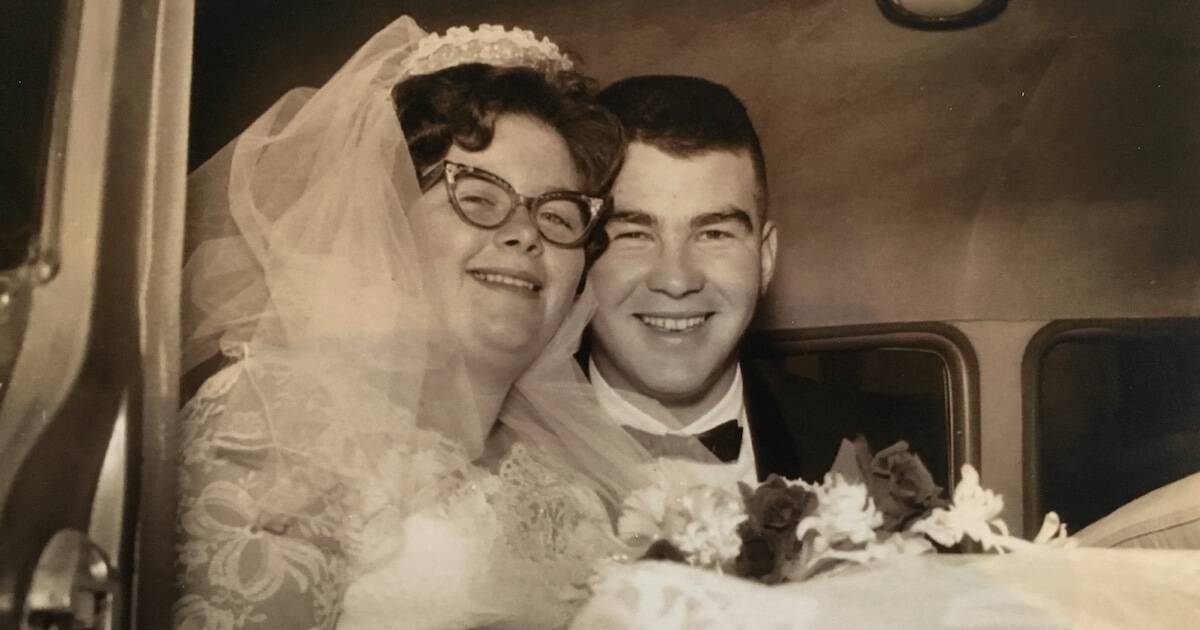 Photo of author's grandparents on their wedding day in 1961. Loved One Died pbs rewire