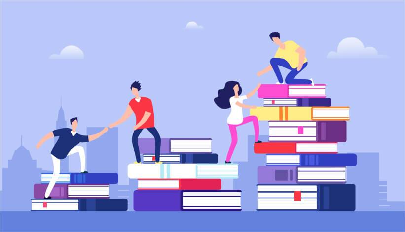 illustration of people climbing different stacks of books. Rewire Living Reading Benefits PBS