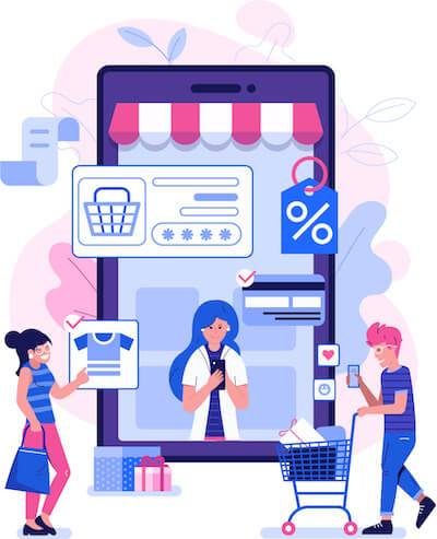 Illustration of man and woman shopping online. Start Saving pbs rewire