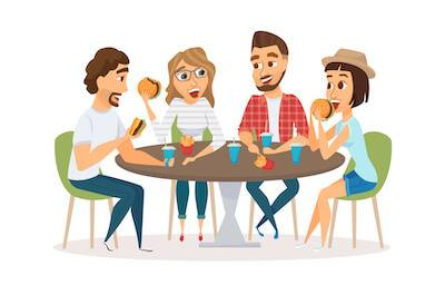 Illustration of two couples having dinner together. Financial Peer Pressure pbs rewire