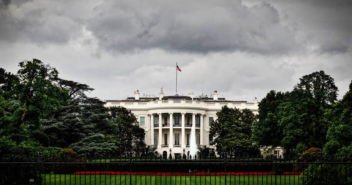 Photo of dark clouds over the White House. Launch Nuclear Weapons pbs rewire