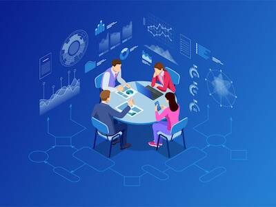 Illustration of entrepreneurs working together around a table. Starting Your Own Nonprofit pbs rewire