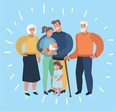 Illustration of happy intergenerational family. Family Conversations pbs rewire