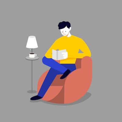 Illustration of man reading a book by himself. Difficult Roommate pbs rewire