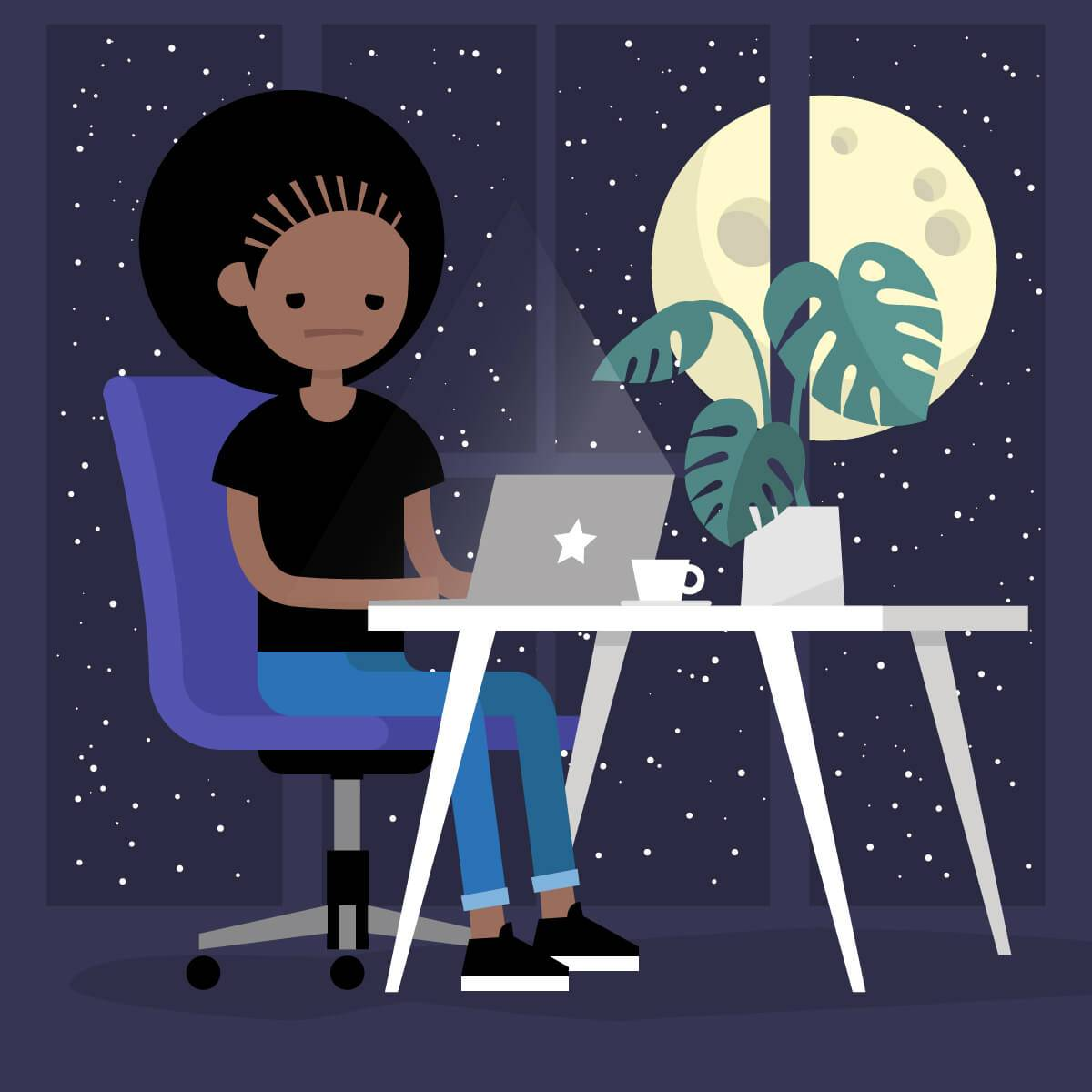 Illustration of a young African American woman unhappily working at a laptop late at night. Rewire Living PBS Sleep