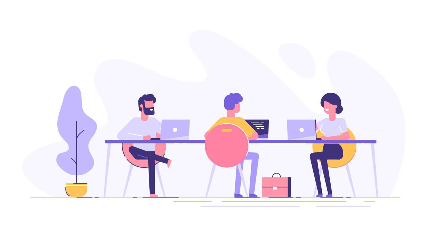 Illustration of a coworking space with creative people sitting at the table. Other People's Stress pbs rewire