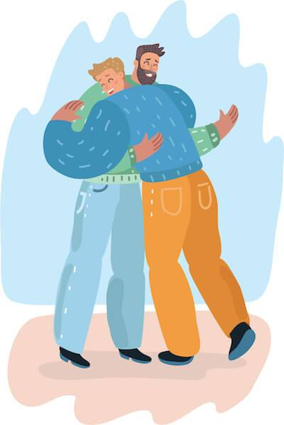 Illustration of two male friends hugging. Romanticizing Past Relationships pbs rewire