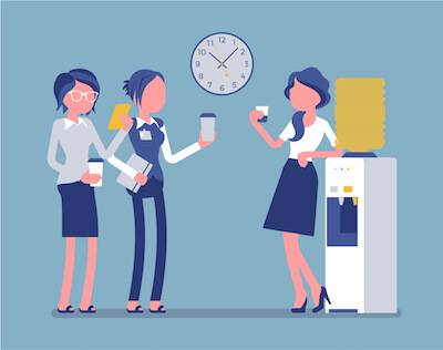 Illustration of three women talking at the water cooler. Compliment People pbs rewire