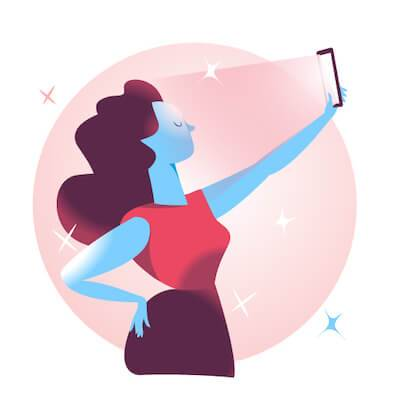 Illustration of woman taking a glamorous selfie of herself. Authentic on Social Media pbs rewire