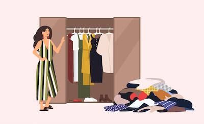 Illustration of woman going through her work wardrobe. pbs rewire