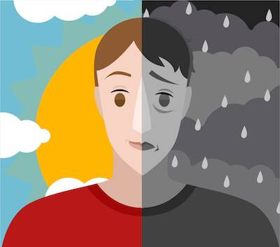 Illustration of man half in sunshine and half in rain. Mental Health Day pbs rewire
