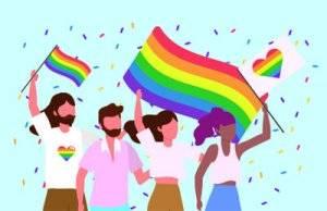 LGBTQ coming out. Pride parade Illustration.