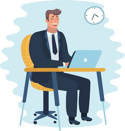 Illustration of man at his desk laughing at his laptop. Instant Message at Work pbs rewire