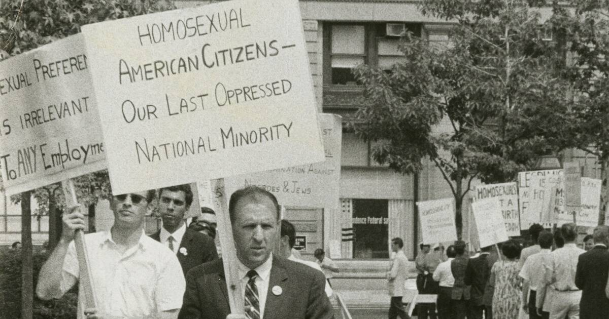 Photo of Frank Kameny leads a picket line in front of Independence Hall in Philadelphia on July 4, 1965, four years before the Stonewall uprising. Lavender Scare pbs rewire