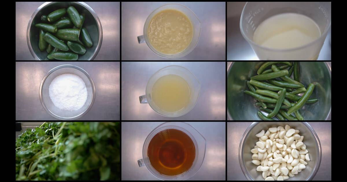 A grid of photos looking down on the ingredients to prepare Maazah Chutney. Rewire PBS Work