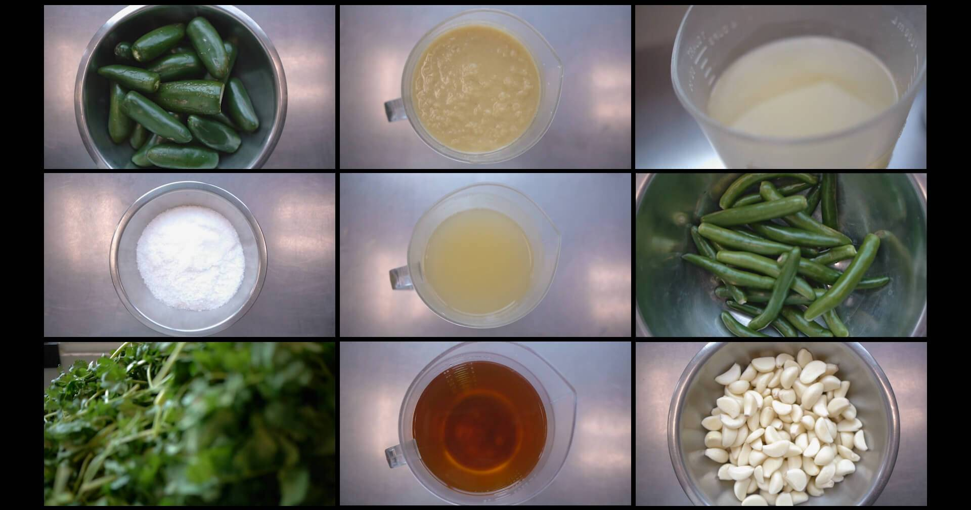 A grid of photos looking down on the ingredients to prepare Chutney. Rewire PBS Work Chutney