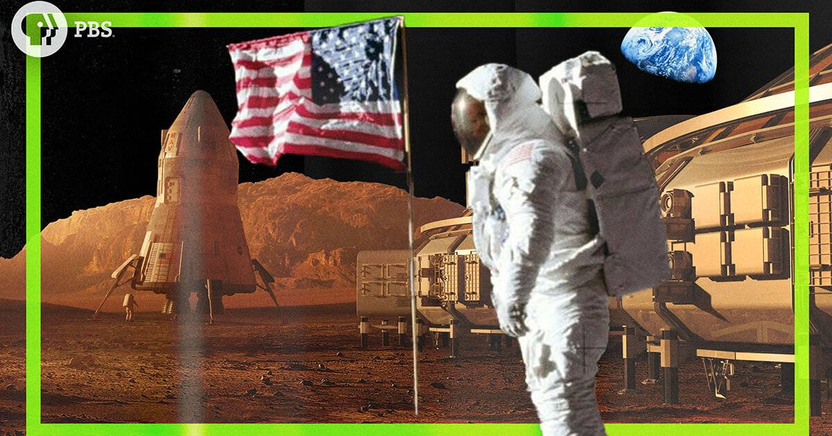Photo collage of an astronaut, an American flag and a Mars station. Rewire PBS Our Future Colonize Mars