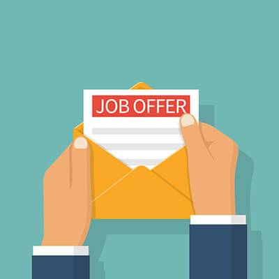 "Illustration of hands opening an envelop with a letter that says ""Job Offer."" Rewire PBS Work Job Offer"