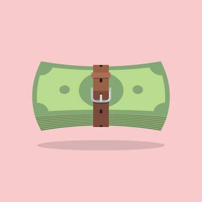 Illustration of money being constricted by a belt. Enough Money pbs rewire