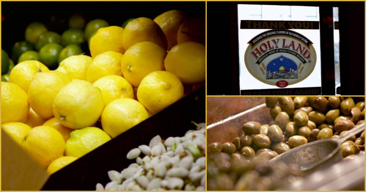 Photo collage of 3 pictures, one with yellow lemons and garlic cloves, one with olives and one a shop window displaying Holy Land deli's logo. Rewire PBS Work Holy Land