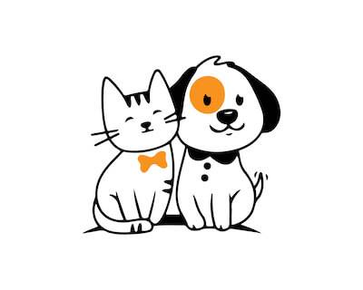 Illustration of dog and cat friends. Pet Owners Cohabitate pbs rewire